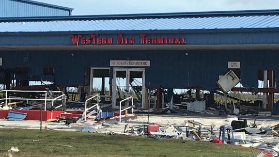Debris litters the Grand Bahama International Airport on September 4.