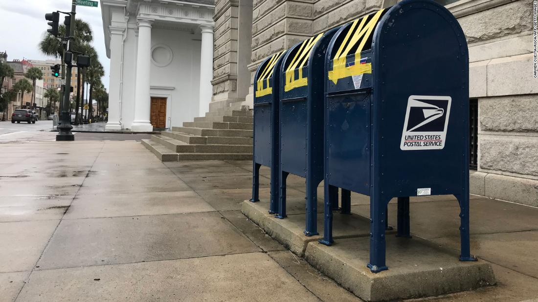 Mailboxes are taped shut in Charleston, South Carolina, on September 4.