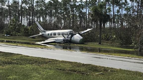 Debris left by Hurricane Dorian litters Grand Bahama International Airport in Freeport, on September 4, 2019.