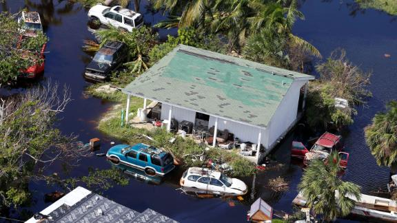 A house is surrounded by floodwaters on Grand Bahama island.