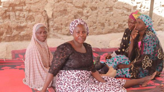 Yana Galang and three other mothers of the missing Chibok girls, after a meeting to discuss the fate of their daughters