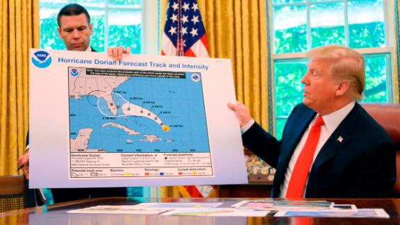 President Donald Trump and Acting US Secretary of Homeland Security Kevin McAleenan update the media on Hurricane Dorian
