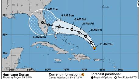 Hurricane Dorian Road, Thursday, August 29, 2019, 11 a.m.