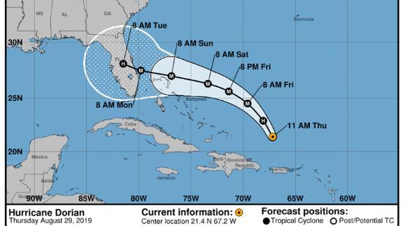 Hurricane Dorian path, Thursday August 29, 2019, 11 a.m.