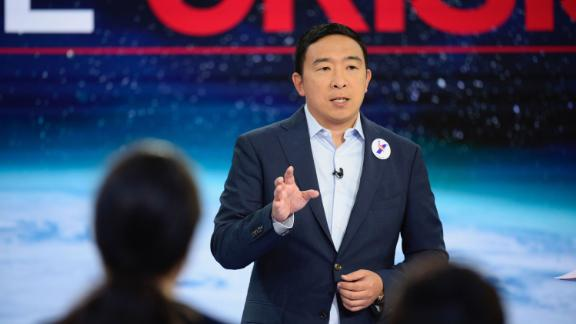 Democratic presidential candidate Andrew Yang participates in CNN