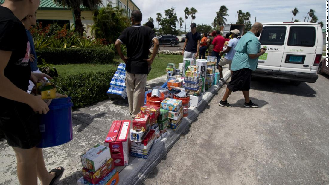 Volunteers receive relief supplies at the New Providence Community Center bound for survivors on Abaco and Grand Bahama islands on September 4.