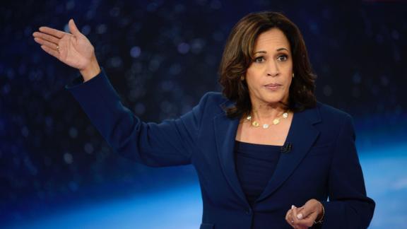 Democratic presidential candidate Kamala Harris participates in CNN
