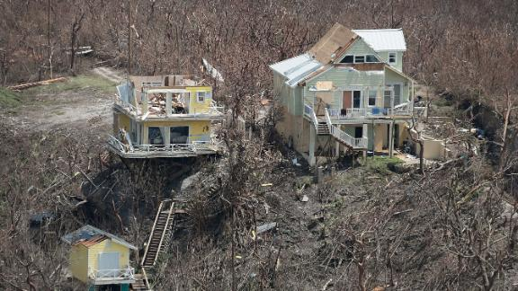 Houses destroyed by Hurricane Dorian are seen on the Bahamas