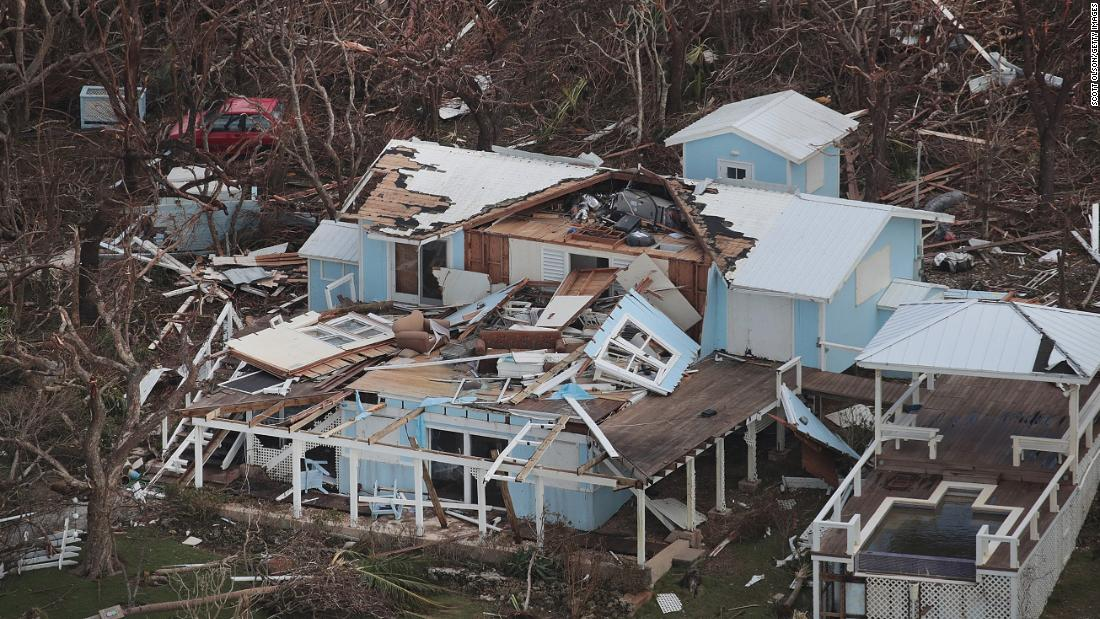 An aerial view of damage caused by Hurricane Dorian is seen on Great Abaco Island in the Bahamas on September 4.