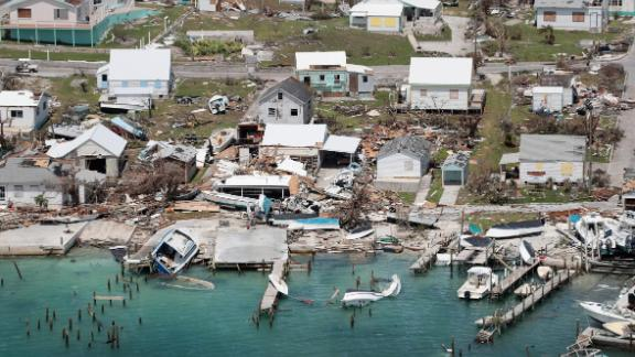 Boats, docks and houses are destroyed on the island of Great Abaco.