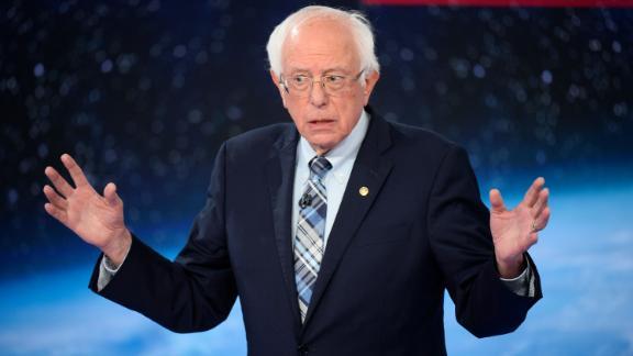 Democratic presidential candidate Bernie Sanders participates in CNN