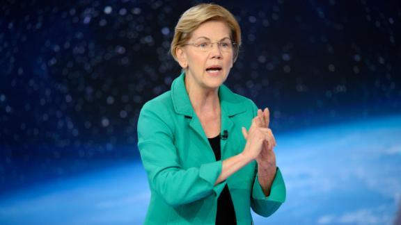 Democratic presidential candidate Elizabeth Warren participates in a climate crisis town hall hosted by CNN in New York on September 4, 2019.