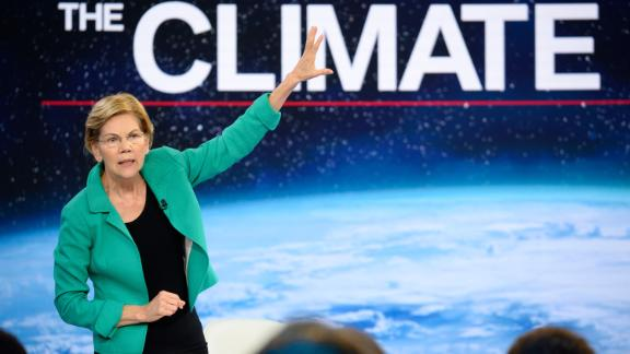 Democratic presidential candidate Elizabeth Warren participates in CNN