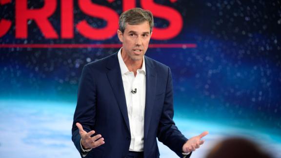 Democratic presidential candidate Beto O'Rourke participates in CNN's climate crisis town hall in New York on September 4, 2019.