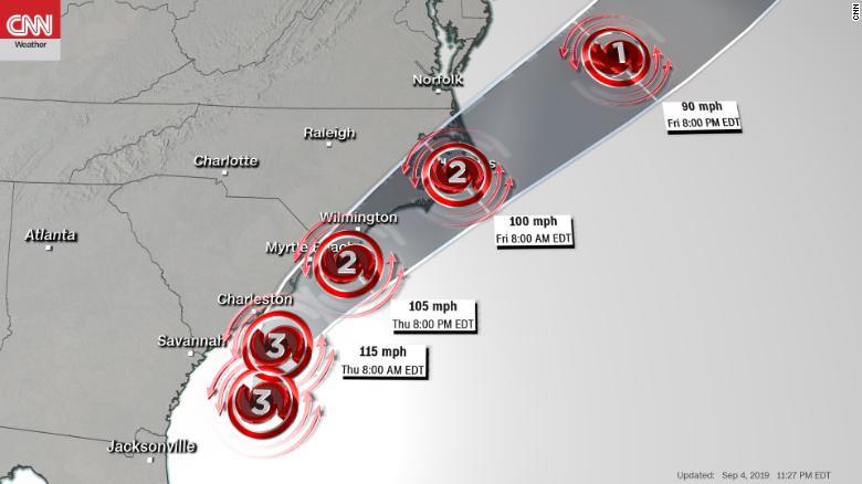 Hurricane Dorian gains strength and heads to Carolinas