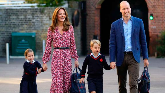 Britain's Princess Charlotte is joined by her parents and her brother Prince George as she arrives for her first day of school on Thursday, September 5.
