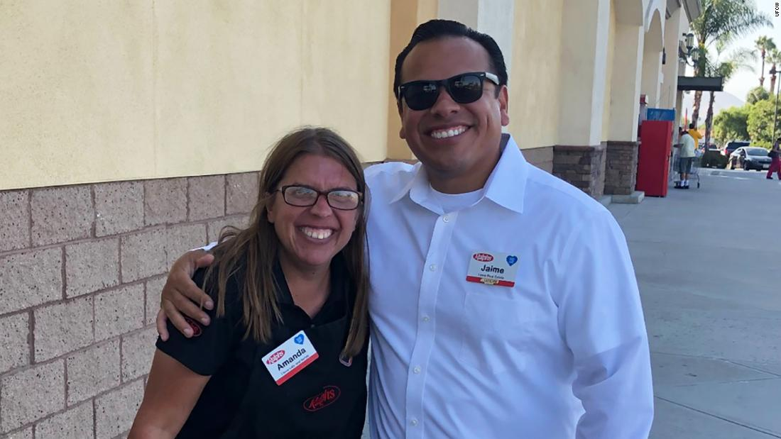Jaime Escarcega (right), a Ralphs cashier in Riverside, California, has worked at the chain for 14 years.