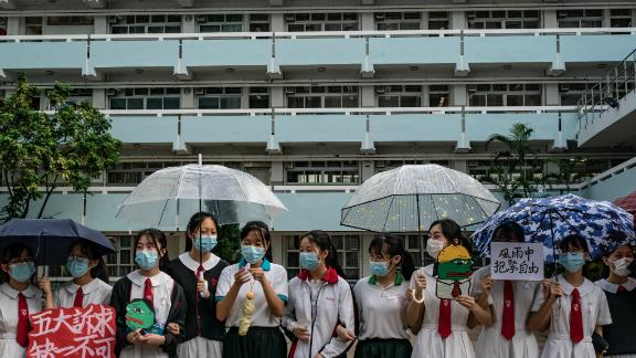 Students form a human chain during a protest on September 5, 2019, in Hong Kong. Pepe the Frog does not have the same right-wing connotation in Hong Kong as in the US.