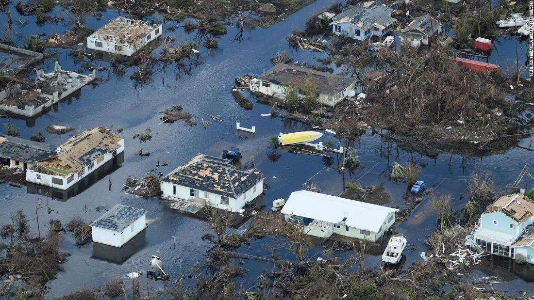 An aerial view shows damage from Hurricane Dorian on September 5, in Marsh Harbour, Bahamas.