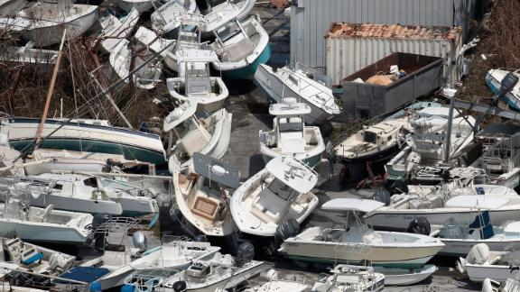 Boats are piled up on the Bahamas