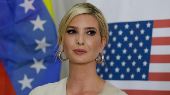 Ivanka Trump, President Donald Trump's daughter and White House adviser, backdropped by United States and Venezuelan flags looks on after a meeting with a delegation representing Venezuelan opposition leader Juan Guaido, at a migrant shelter in La Parada near Cucuta, Colombia, Wednesday, September 4, 2019.