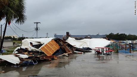 A tornado flattened mobile homes and other structures Thursday in Emerald Isle, North Carolina, the National Weather Service said.