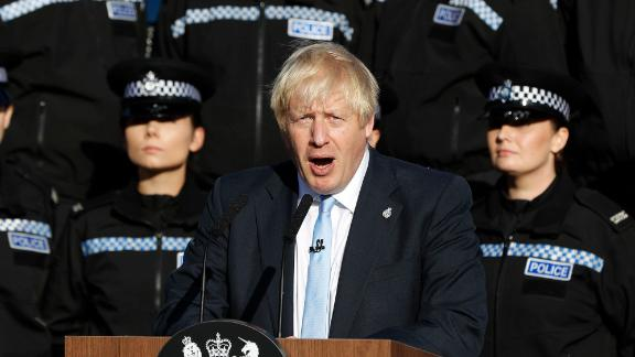 Boris Johnson makes a speech to student police officers at the West Yorkshire Police Training Centre in Wakefield.
