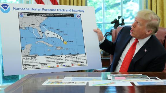 """In September 2019, Trump shows an <a href=""""https://www.cnn.com/2019/09/04/politics/donald-trump-hurricane-alabama-map/index.html"""" target=""""_blank"""">apparently altered map</a> of Hurricane Dorian's trajectory. The map showed the storm potentially affecting a large section of Alabama. Over the course of the storm's development, Trump erroneously claimed multiple times that Alabama had been in the storm's path."""