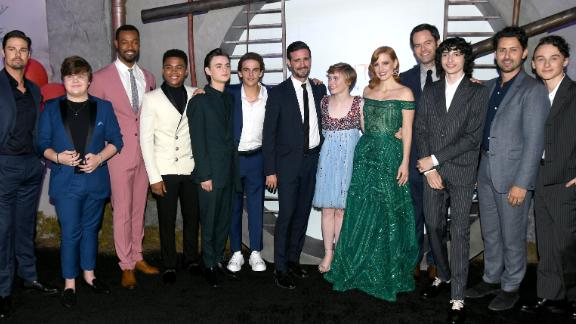 """Jay Ryan, Jeremy Ray Taylor, Isaiah Mustafa, Chosen Jacobs, Jaeden Martell, Jack Dylan Grazer, James Ransone, Sophia Lillis, Jessica Chastain, Bill Hader, Finn Wolfhard, Andy Bean and Wyatt Oleff attend the premiere of """"It Chapter Two"""" in August. (Photo by Kevin Winter/Getty Images)"""