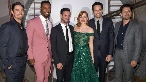 """Jay Ryan, Isaiah Mustafa, James Ransone, Jessica Chastain, Bill Hader, and Andy Bean at the """"It Chapter Two"""" premiere in August. (Photo by Kevin Winter/Getty Images)"""