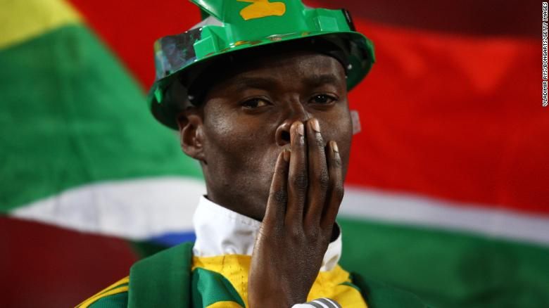 A South African fan watches as his team lose to Brazil in 2009.
