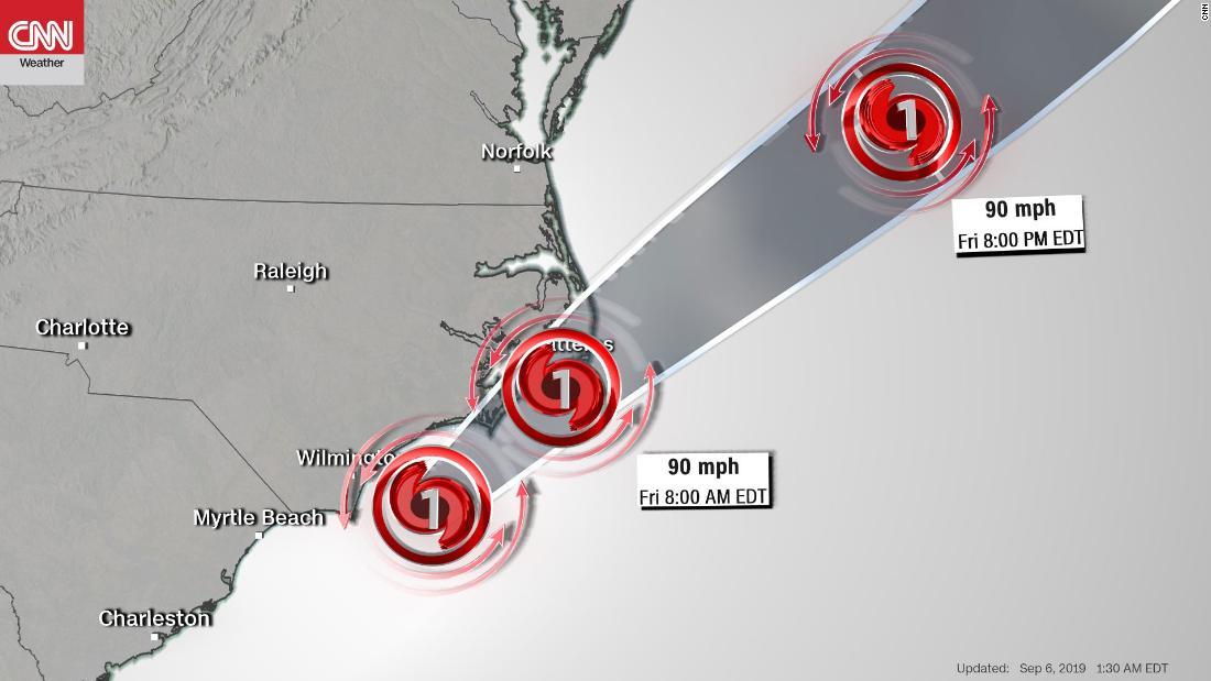 Hurricane Dorian lashes North Carolina with strong winds