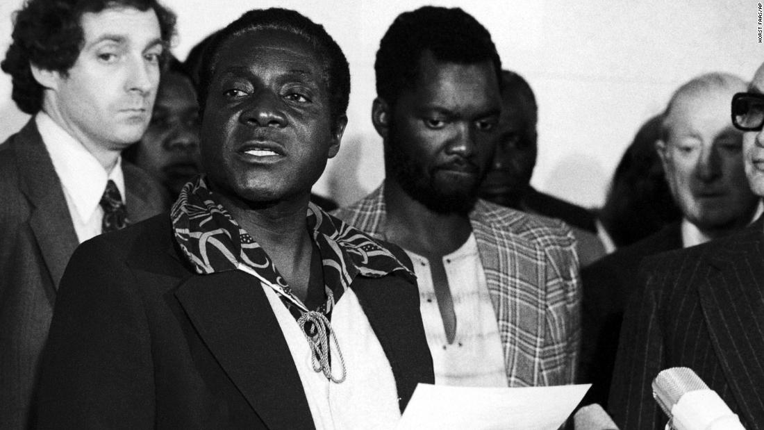 Mugabe speaks to the press in Geneva in 1976. The following year he was elected president of ZANU-PF and commander-in-chief of the Zimbabwe African National Liberation Army.