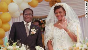 President Robert Mugabe and his wife Grace pictured at their wedding ceremony on August 17 1996.
