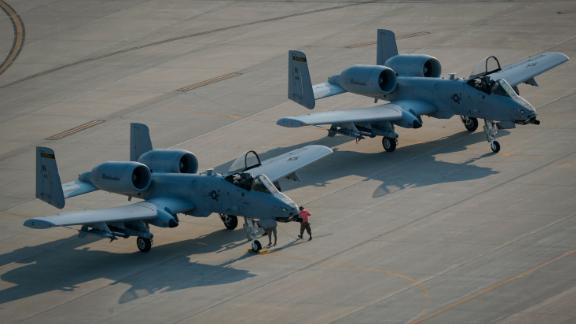 A US Air Force A-10C Thunderbolt II aircraft, similar to these fighter jets from the Indiana Air National Guard