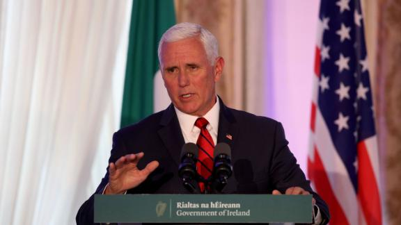 US Vice President Mike Pence speaks to members of the media after holding talks with Irish Prime Minister Leo Varadkar at Famleigh House in Phoenix Park, Dublin, on September 3, 2019, on day two of the US Vice President's visit to Ireland.