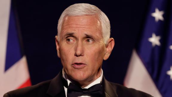 U.S. Vice President Mike Pence delivers a speech at the annual International Trade Dinner at the Guildhall in the City of London, in London, Thursday, Sept. 5, 2019.