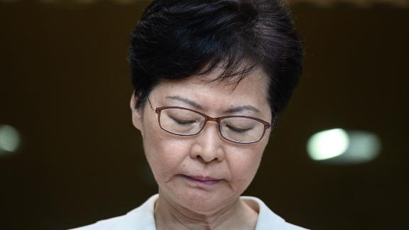 TOPSHOT - Hong Kong Chief Executive Carrie Lam waits for questions from the media at a press conference in Hong Kong on September 5, 2019, a day after she announced the withdrawal of a loathed extradition bill. - Hong Kong's leader on September 4 bowed to a key demand of pro-democracy protesters following three months of unrest, announcing the withdrawal of a loathed extradition bill, but activists vowed to press on with their campaign. (Photo by Philip FONG / AFP)        (Photo credit should read PHILIP FONG/AFP/Getty Images)
