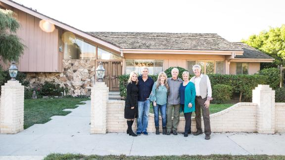 Maureen McCormick, Christopher Knight, Susan Olsen, Mike Lookinland, Eve Plumb and Barry Williams in front of the original Brady home in Studio City, CA, as seen on 'A Very Brady Renovation.'