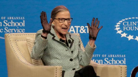 Supreme Court Justice Ruth Bader Ginsburg speaks to a cheering crowd at Verizon Arena Tuesday, September 3, 2019, in North Little Rock, Arkansas.