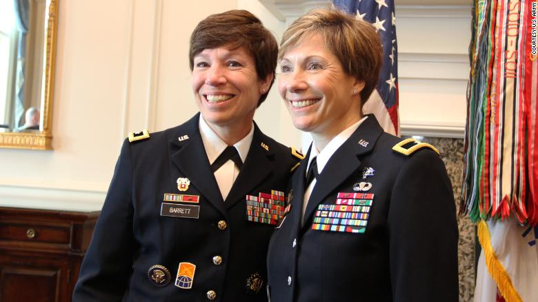 Maj. Gen. Maria Barrett poses with Brig. Gen. Paula Lodi during then Col. Lodi's promotion ceremony at the Army Navy Country Club in Arlington, VA on 12 July 2019.