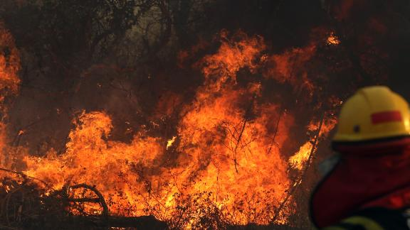 A firefighter works during a wildfire in the Santa Cruz region of eastern Bolivia on August 22, 2019.