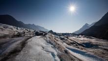 The sun shines down on Spencer Glacier, near Anchorage, Alaska.