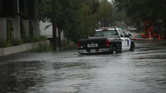 SOUTH CAROLINA, USA - SEPTEMBER 5: A flooded street is seen as Hurricane Dorian started to be effective in Charleston, South Carolina, United States on September 5, 2019. (Photo by Vural Elibol/Anadolu Agency via Getty Images)