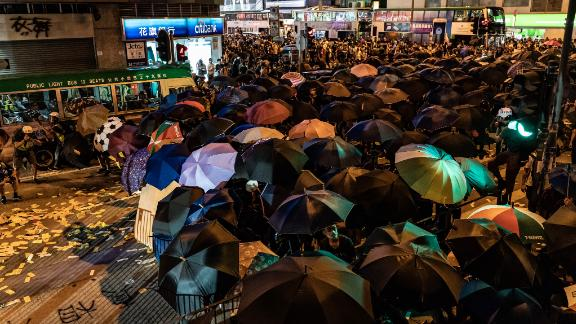 Protesters prepare to clash with police outside the Mong Kok police station on September 6.