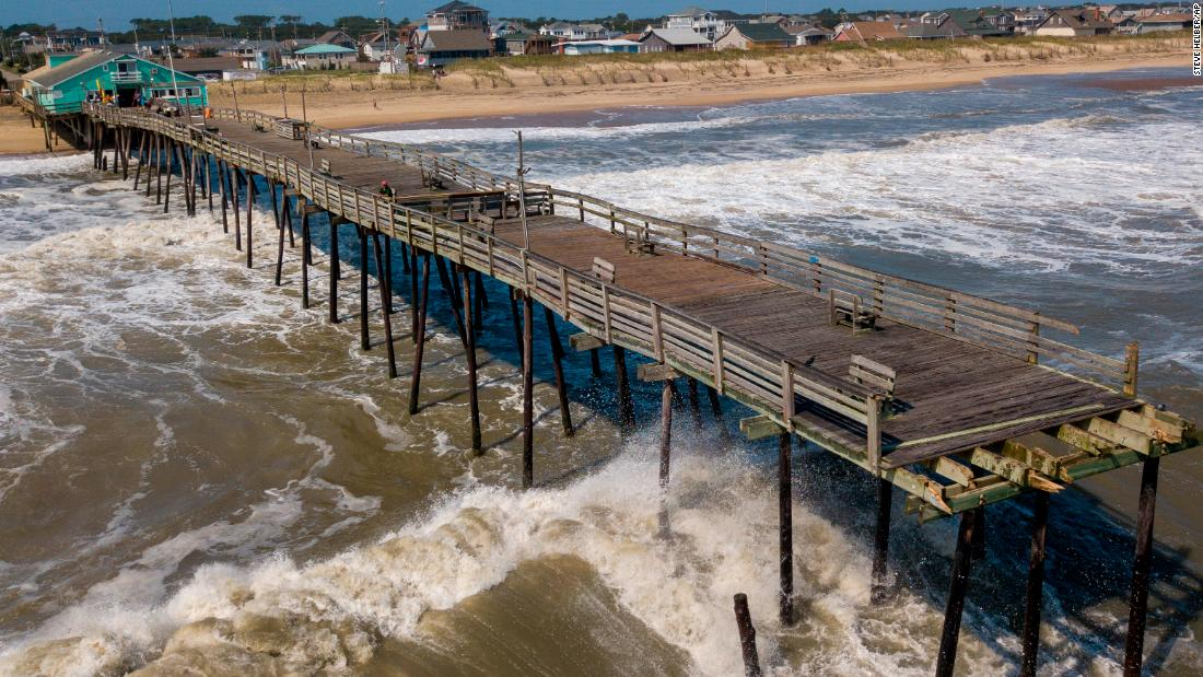 Waves continue to pound the Avalon pier on September 7 after a large portion of the pier was washed away by Hurricane Dorian which moved through Kill Devil Hills, NC., on Friday, September 6.