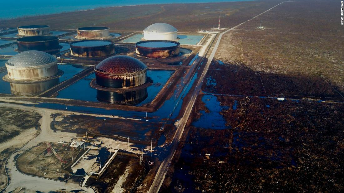 An aerial view of the damage at Equinor's South Riding Point oil storage facility after hurricane Dorian swept through Grand Bahama, Bahamas, on Saturday September 7.