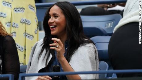 Meghan, the Duchess of Sussex, watches Serena Williams during the US Open.