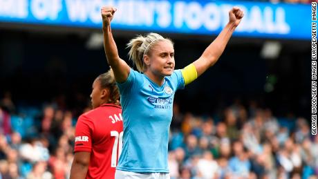 Manchester City captain Steph Houghton celebrates at full time.