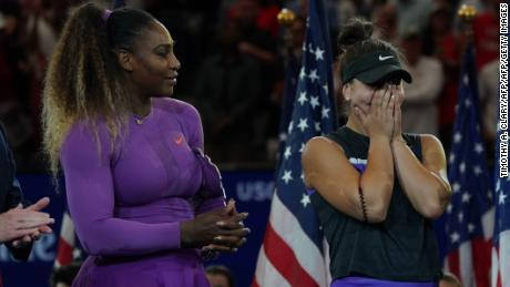 Andreescu reacts after beating Serena Williams in the US Open final.